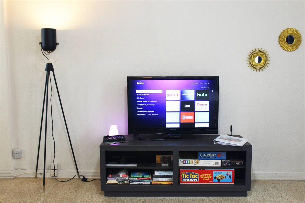 39-inch Insignia HDTV with 25 local HD channels and Roku Stick to stream any online app account you have. It comes with a Roku channel with over 1,200 free movies and shows so there's always something on. Also several books, and board games.