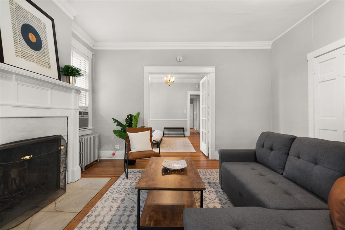 Comfortable living room for you to sit back and relax during your trip.  Netflix and internet provided!