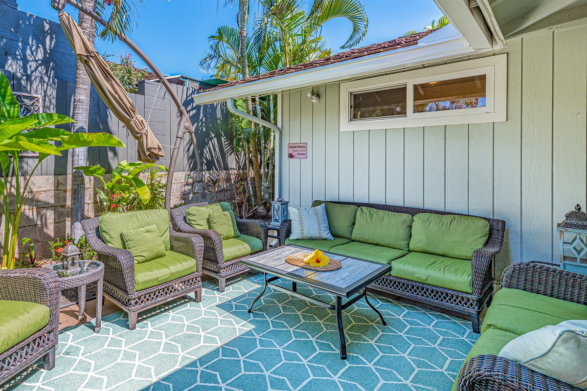 Our house is set up perfectly for outdoor living. Lounge seating for 8.
