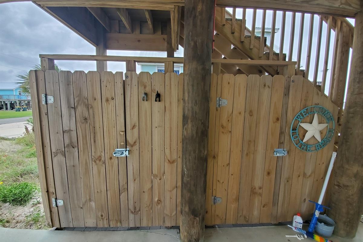 Outdoor Shower and Beach Gear Storage