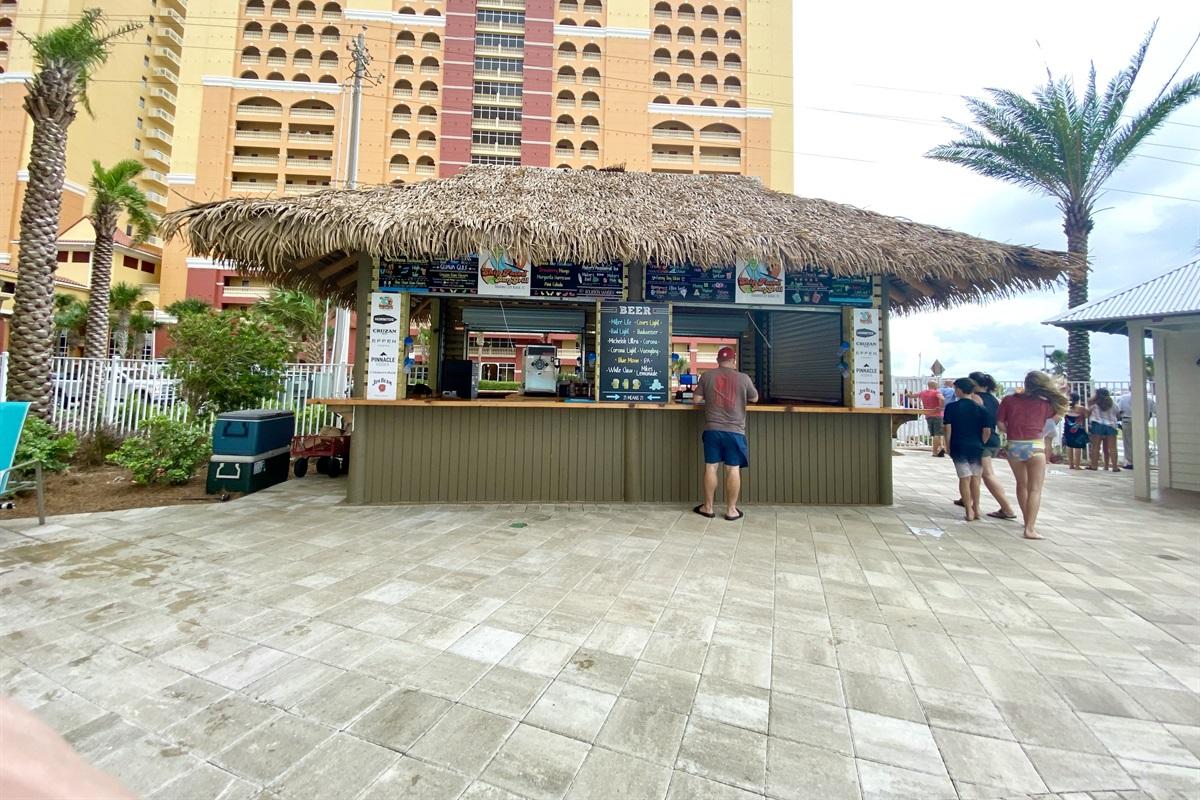 Tiki hut by the pool
