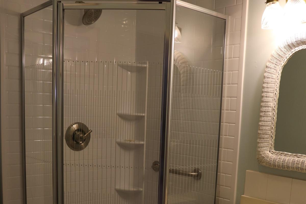 Bathroom w/ shower.
