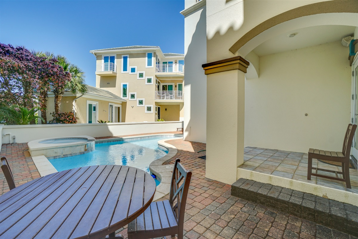 Heated pool with seated area, this is NOT a hot tub