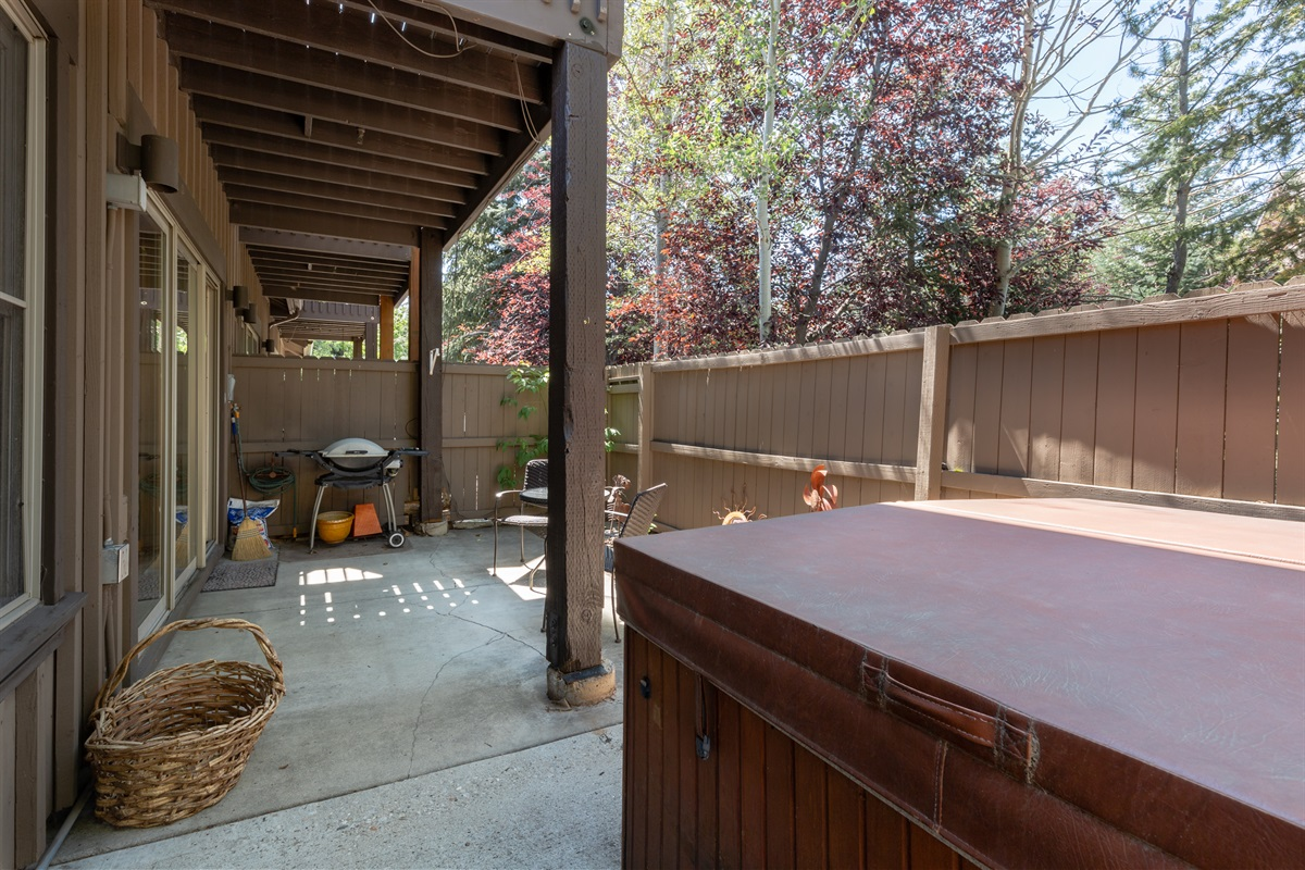 Private outdoor space with hot tub