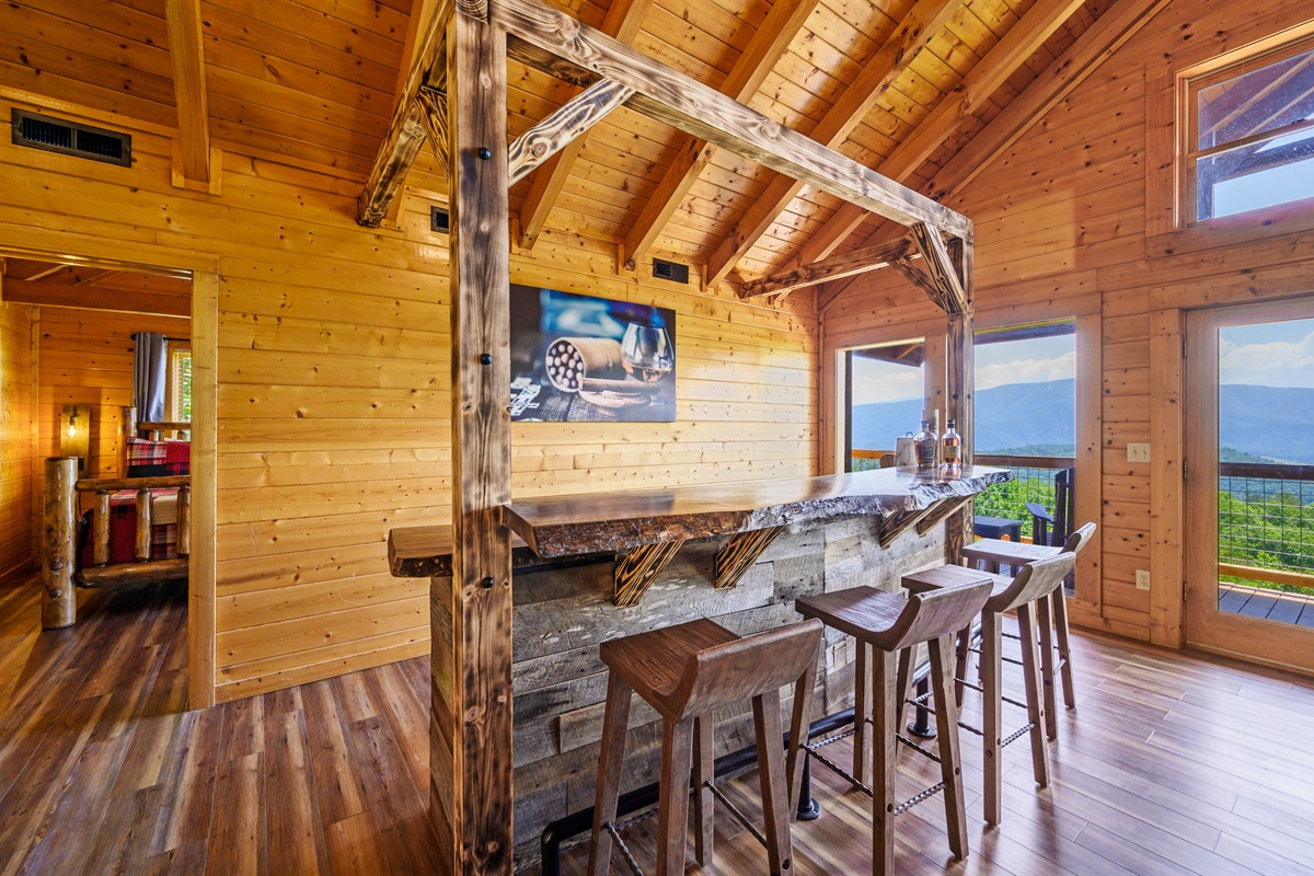 Custom Made Bar overlooking expansive views of the mountains!