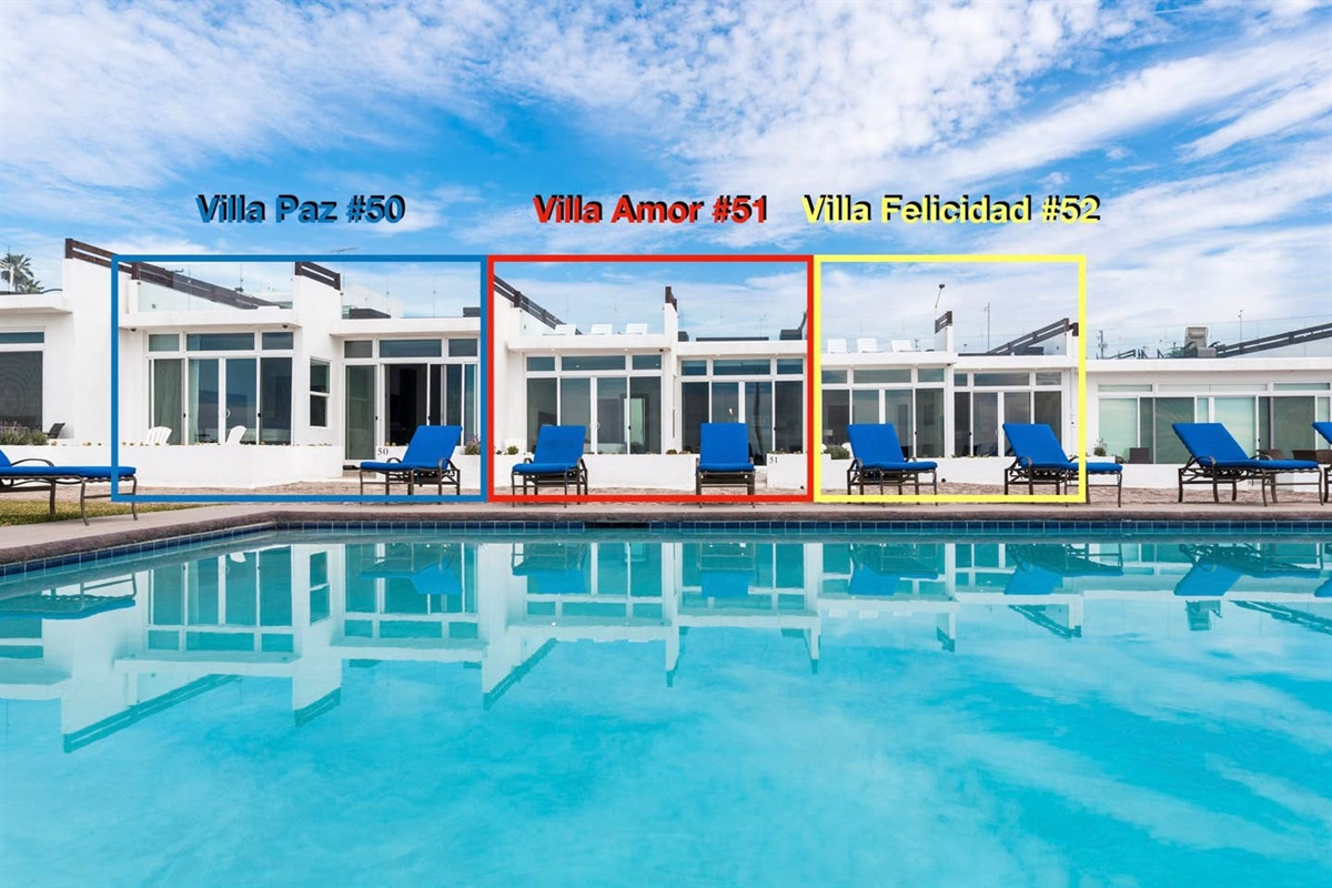 We have 3 oceanfront villas available for rent. For this listing, you would be booking Villa Felicidad #52.