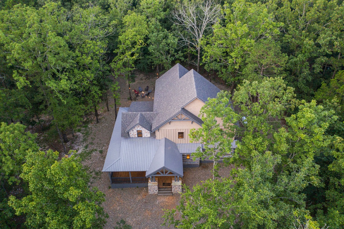 Aerial view of the beautiful hardwood that surrounds the cabin