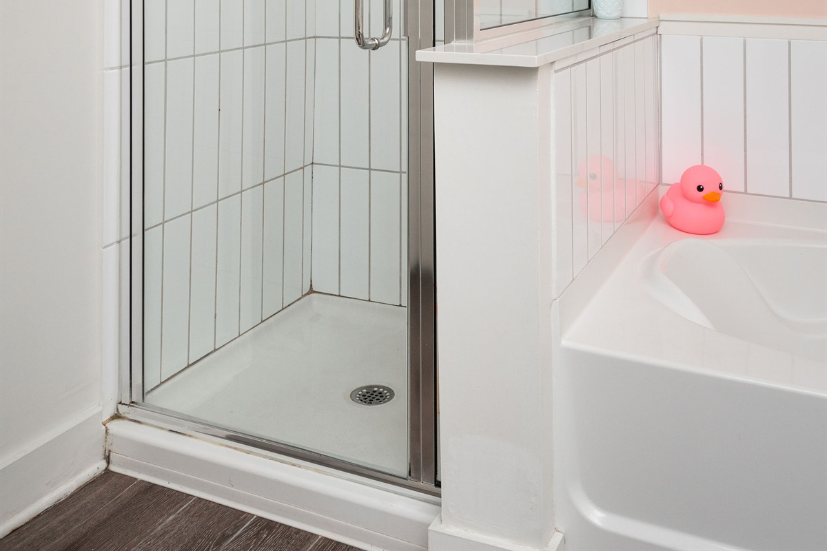Shower and soaking tub available for yor use