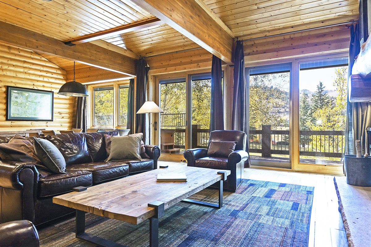 Living area with walkout deck and private hot tub