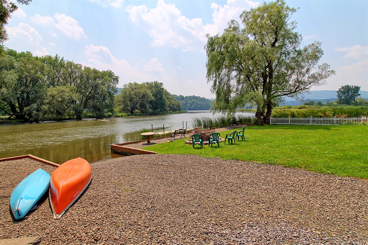 Convenient boat launch for the provided kayak and canoe, or for your own watercraft