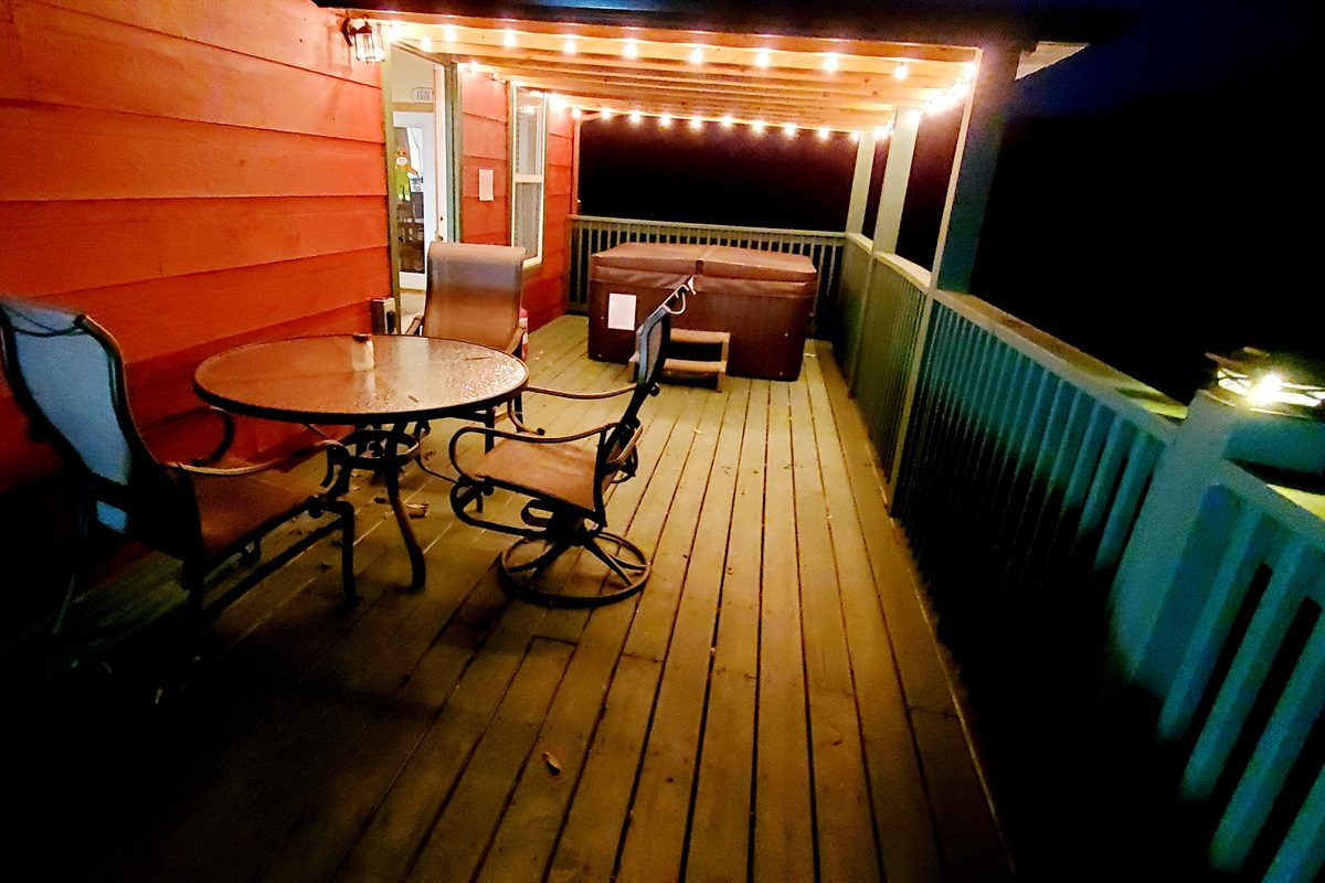 Lit up deck for enjoying the cool evenings here in the Smokies!