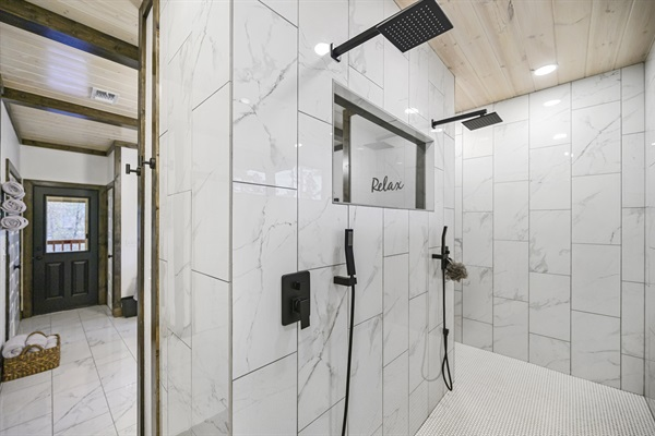 Master bathroom suite - walk through double shower with rainfall showeheads