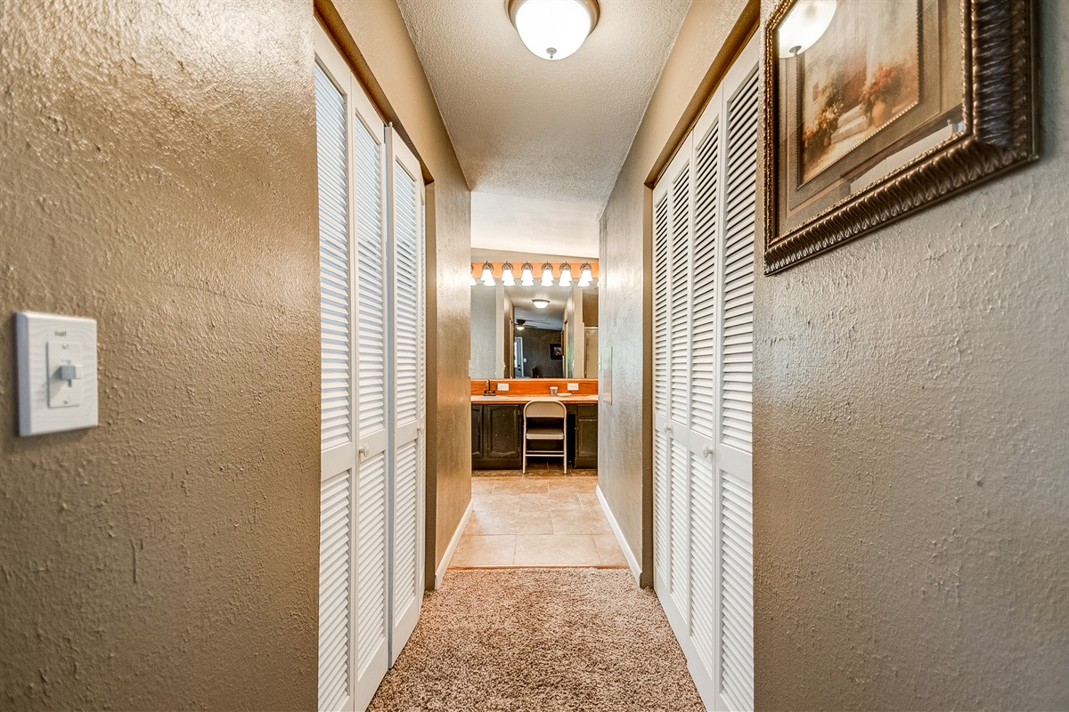 From master bed to bath, lots of closet space!