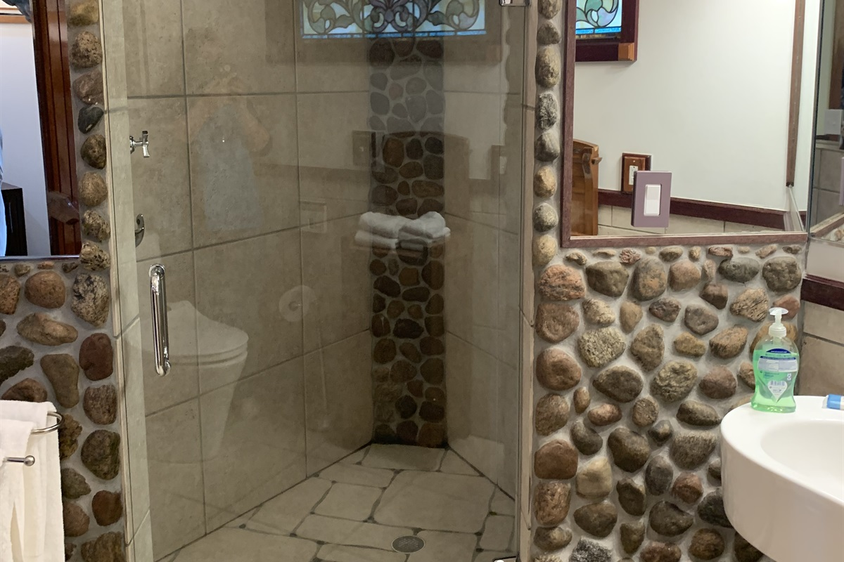 Glass enclosed shower