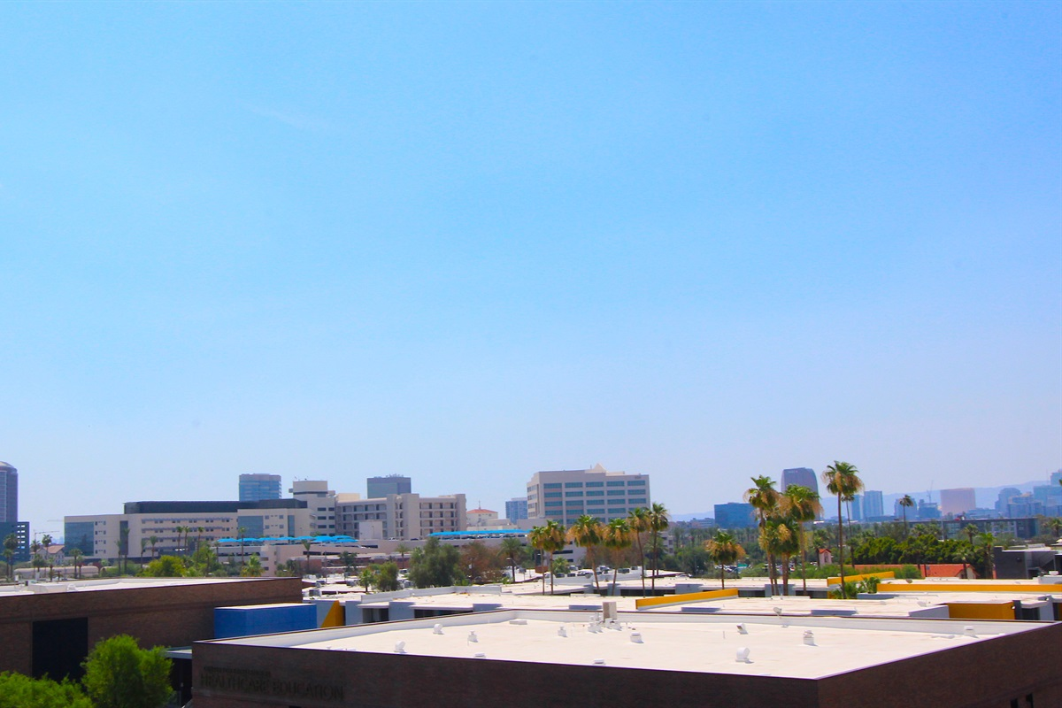 View of downtown Phoenix from our balcony. Fifth floor no one above.
