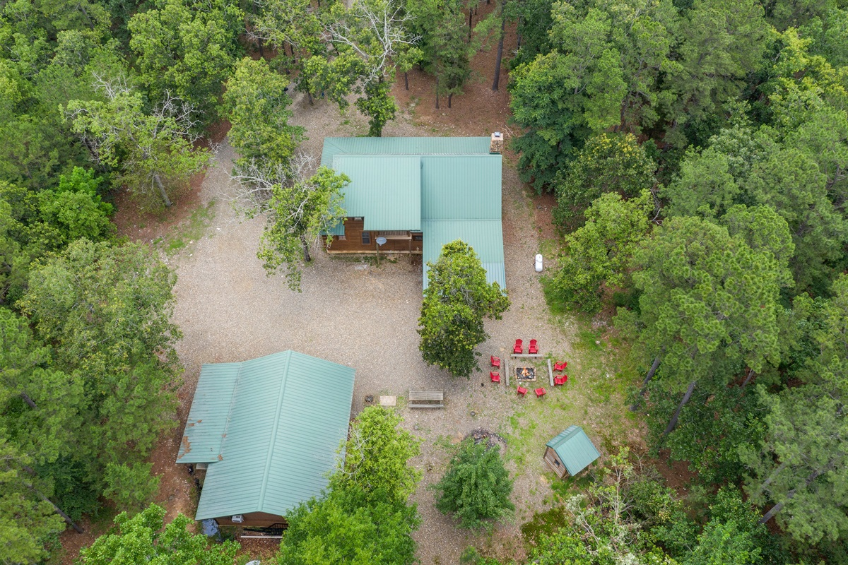 Overview of the 2 acre property... One of the most private cabins in the area.  The other large structure is a garage/workshop that came with the property