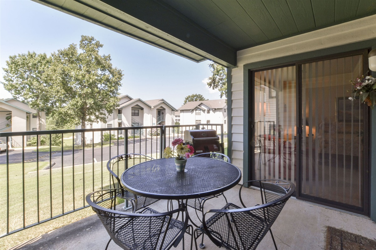 The private patio offers al fresco dining! A private grill is provided.