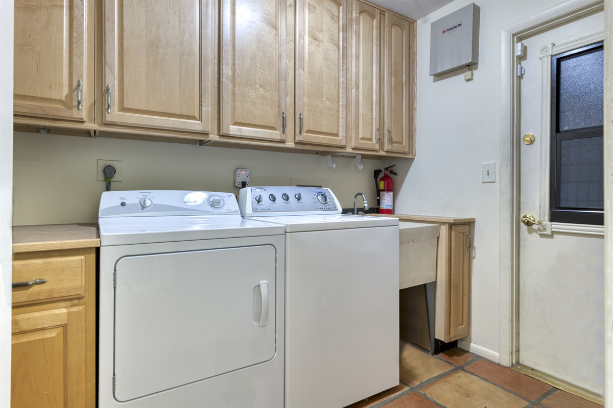 Laundry Room, washer dryer & garage entrance