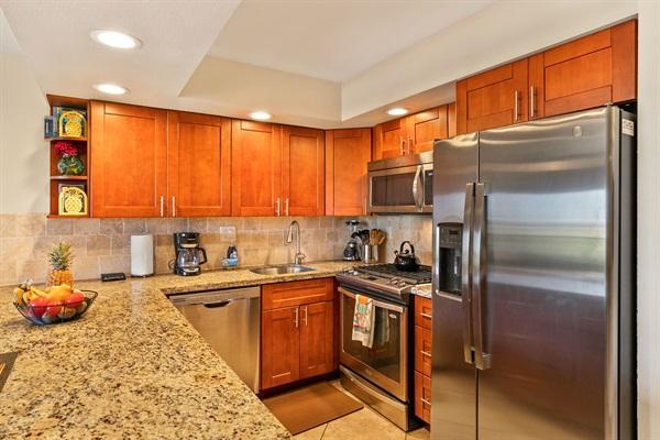 Quiet dishwasher, gas range, microwave hood, fridge/freezer with water/ice dispenser