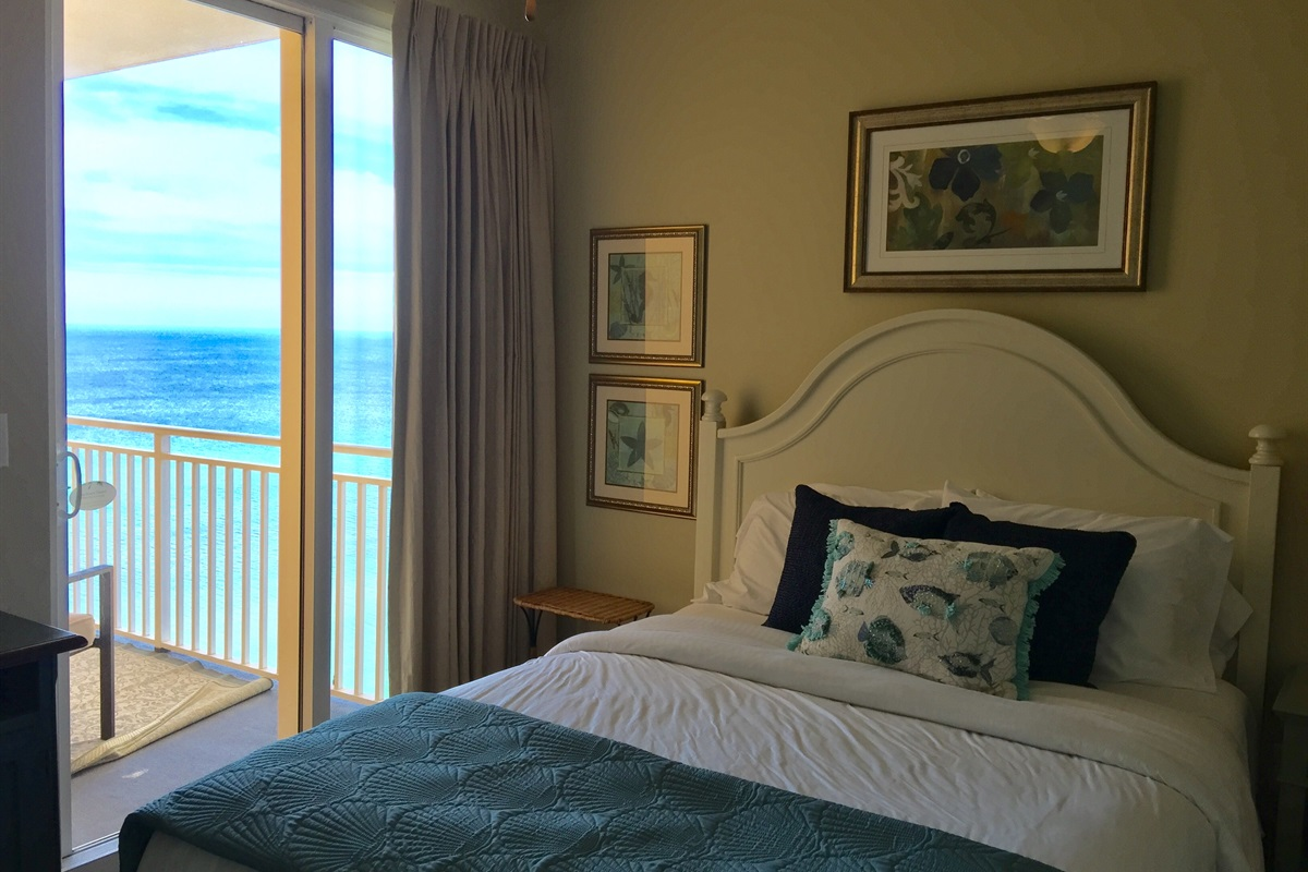 Guest bedroom has a queen size bed and private Gulf front balcony