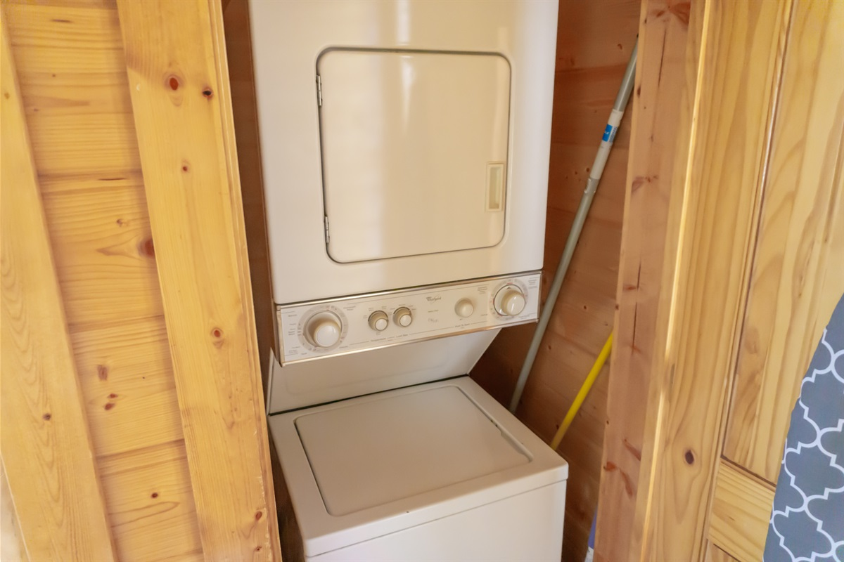 Stackable washer and dryer in lower level closet