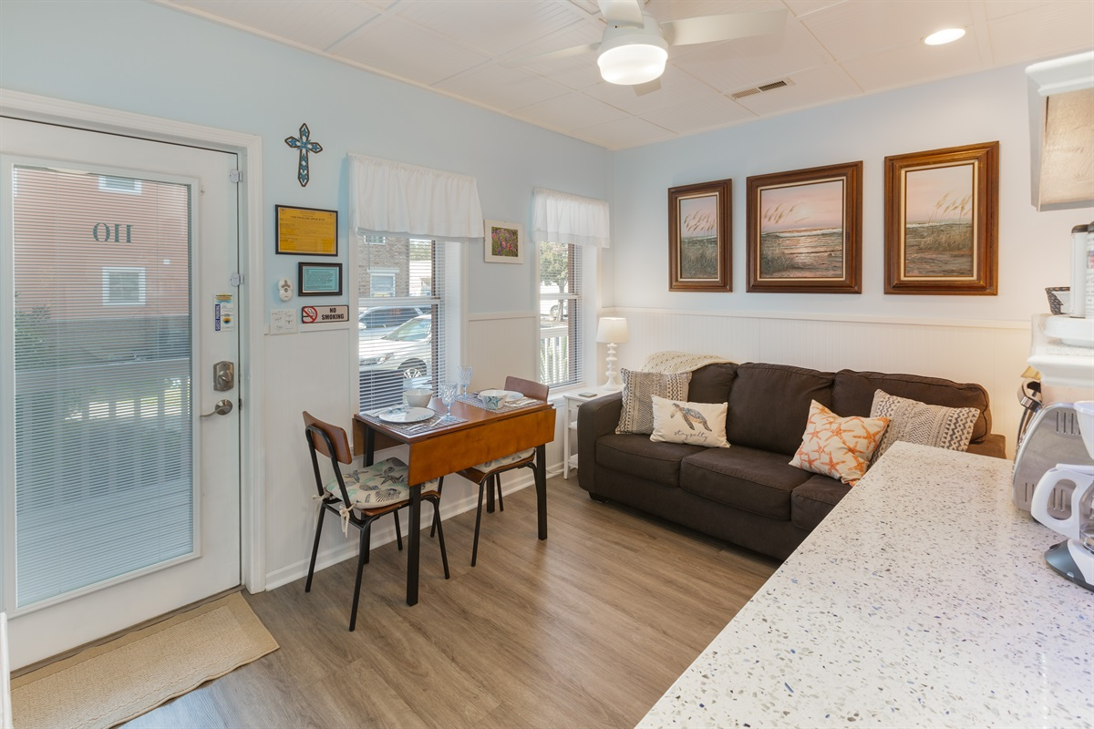 Lots of light in this small but efficient living space, with a queen sofa bed and kitchenette with all essentials.