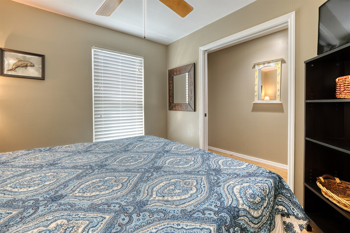 Master bedroom has a HD TV with Dish Network