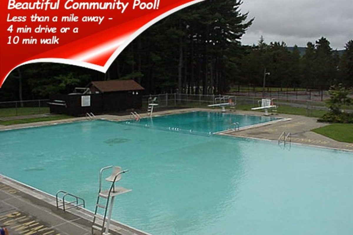There is a large community pool in Wilber Park, which is only a half mile away.  An easy walk or short drive.   Bring your bathing suit and enjoy a swim!