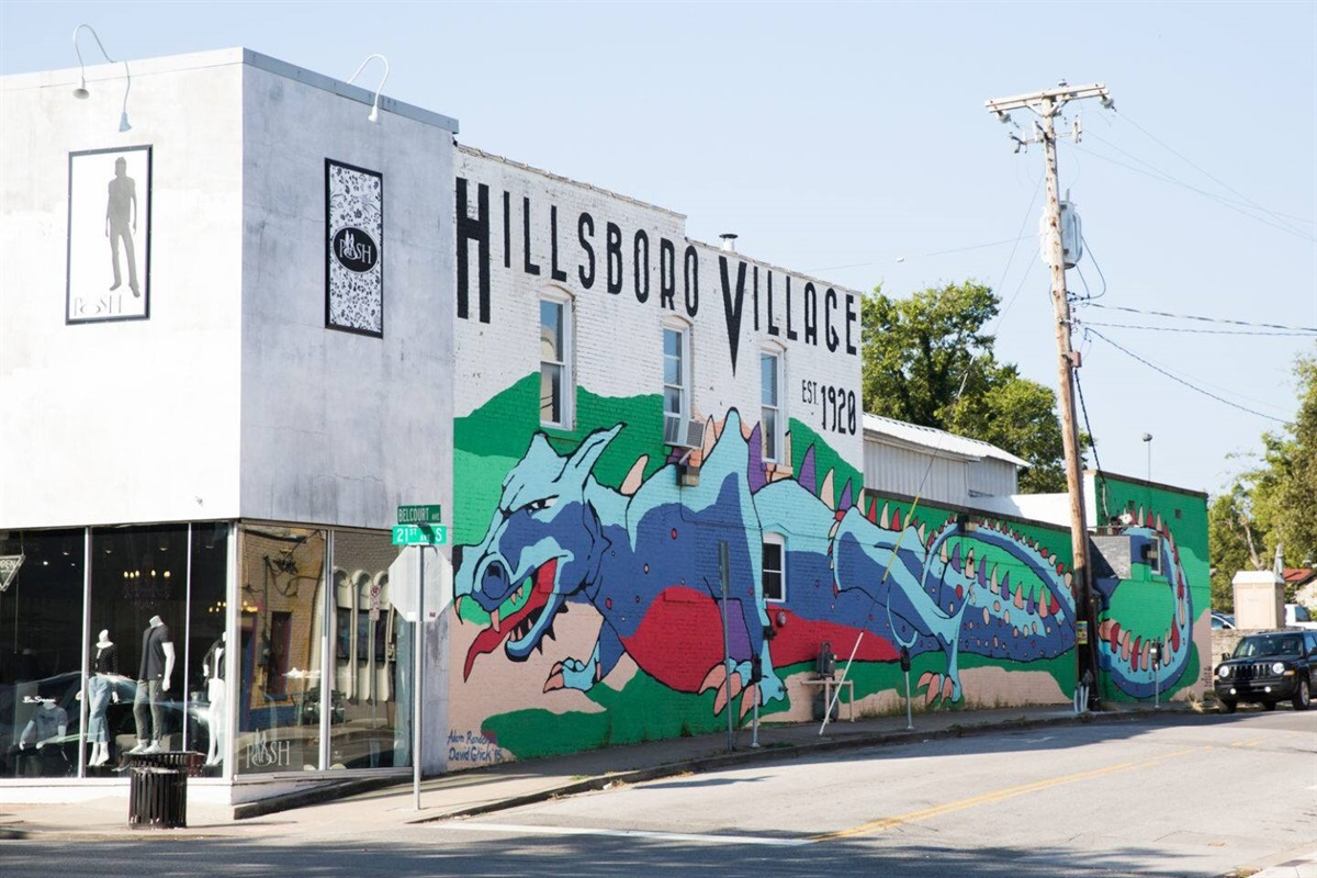 .3 mile walk to Hillsboro Village.  Iconic Nashville restaurants like Pancake Pantry and Fido's!