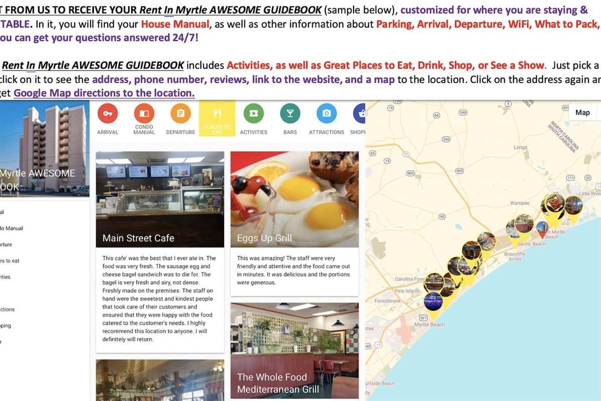 RENT FROM US TO RECEIVE YOUR Rent In Myrtle AWESOME GUIDEBOOK (sample below), customized for where you are staying & PRINTABLE. In it, you will find your House Manual, as well as other information about Parking, Arrival, Departure, WiFi, What to Pack, etc.