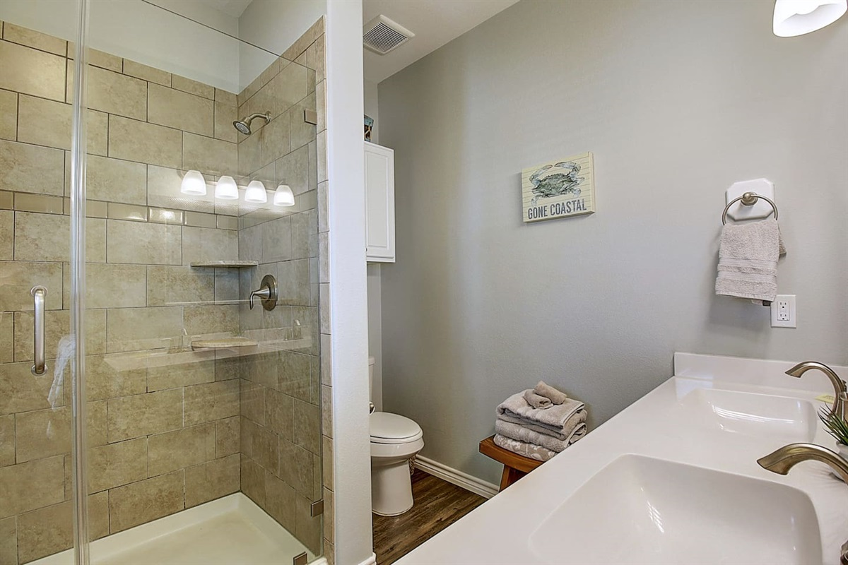 2nd Floor King Bedroom - Private bathroom with walk-in Shower and Double Sinks.