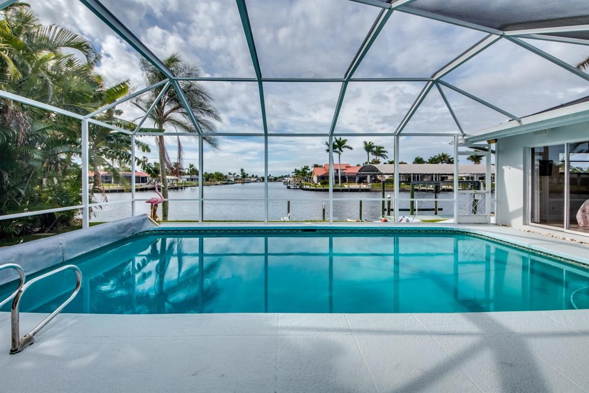 Large saltwater heated pool