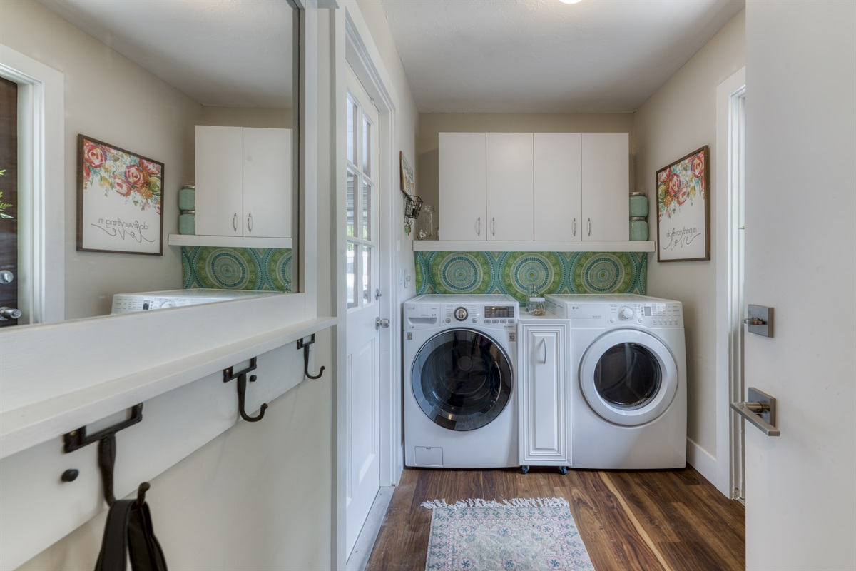 Everything you need in a laundry room! Large capacity washer and dryer. All the detergents you need!