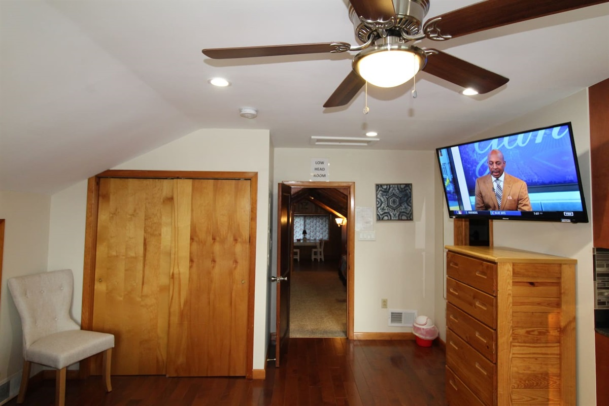 """Railroad style upstairs with access to the suite through the twin bed area.  43"""" or larger smart Roku TV in every bedroom"""