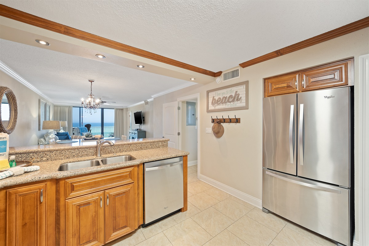 Fully Equipped Kitchen with Residential Size Refrigerator