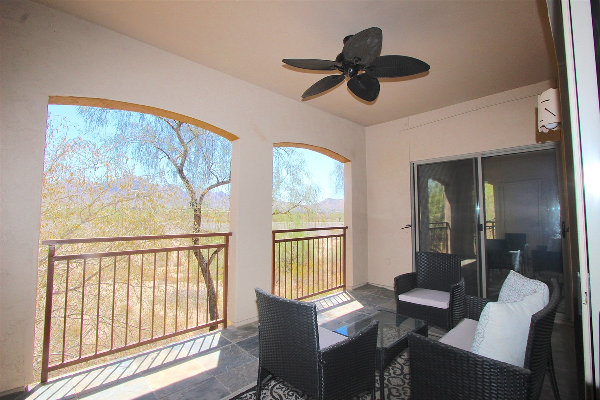Patio with east views of McDowell Mountain.