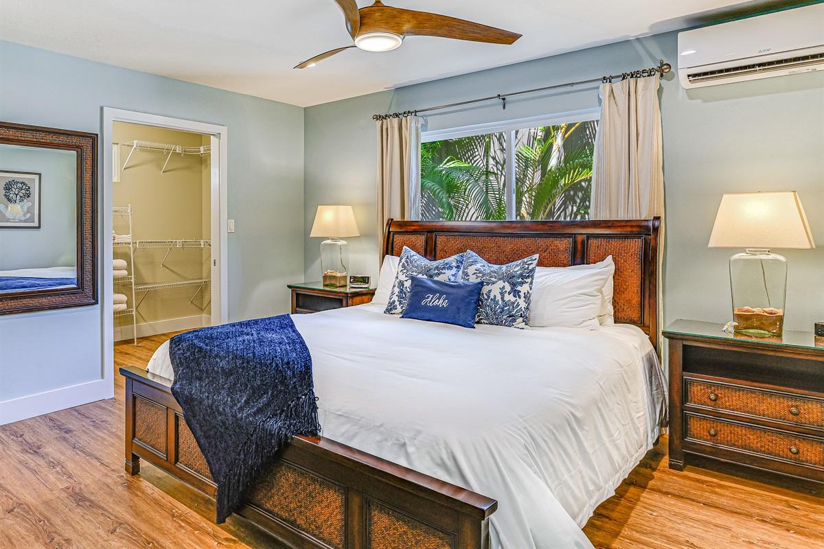 Walk-in closet, dresser, ultra-quiet split AC, ceiling fan