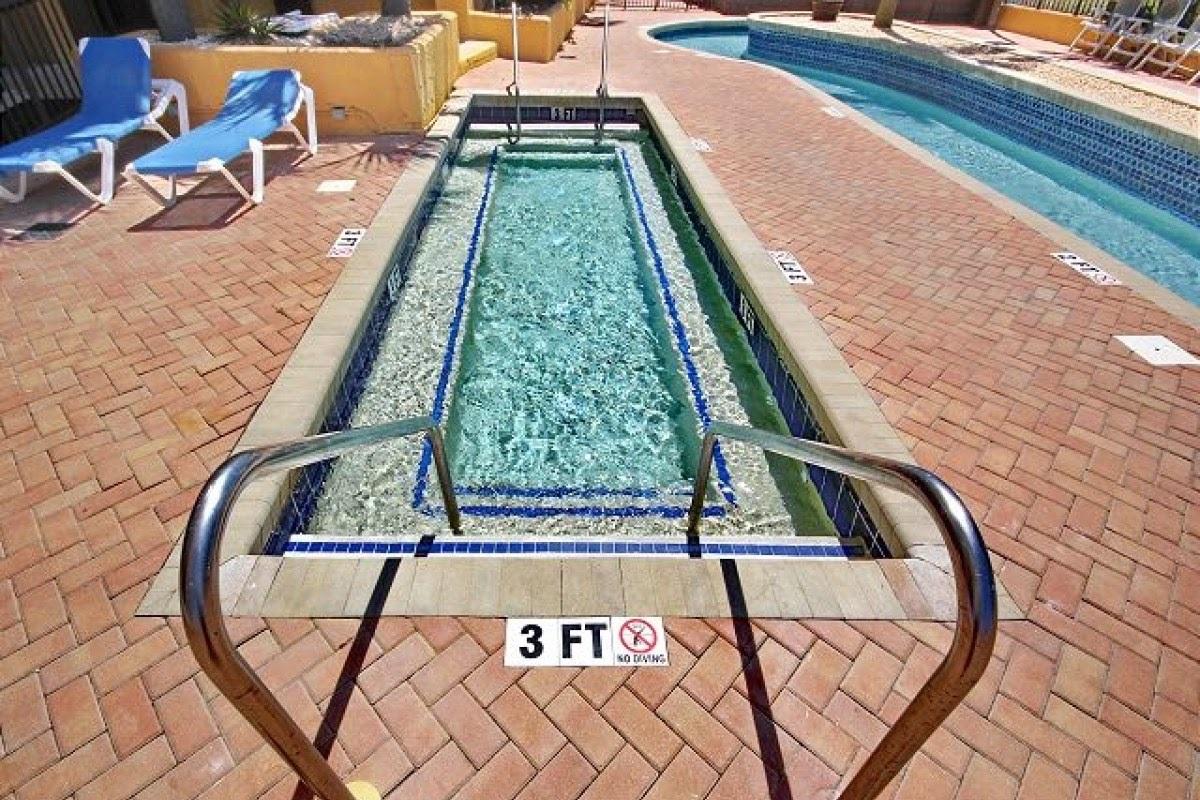 One of Several Hot Tubs of Resort Building Next Door