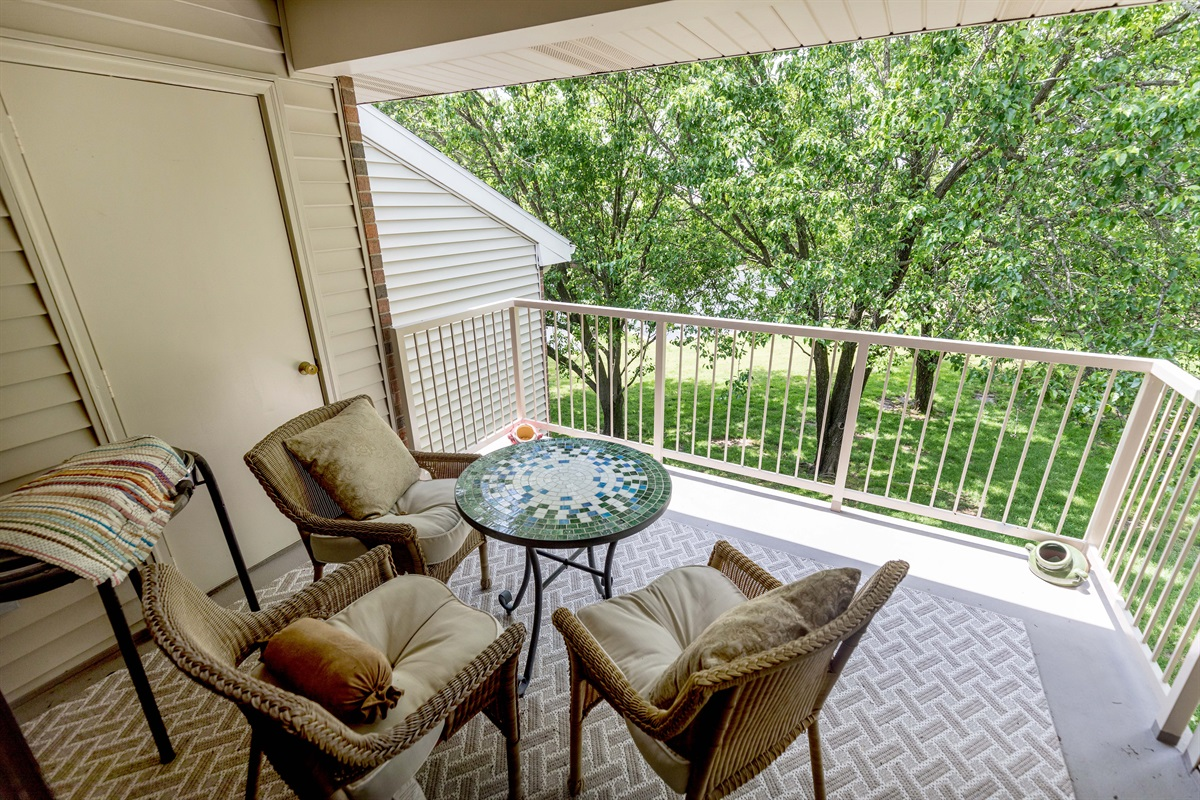 You'll love the serenity of our peaceful, shaded deck!