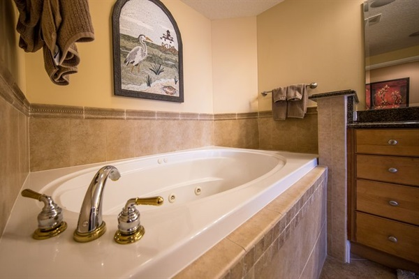 Master Bathroom has oversized jacuzzi with separate walk in shower.