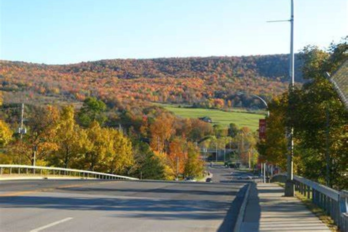 Beautiful hills of Oneonta as seen from the bridge leaving downtown and heading for the Championship House units