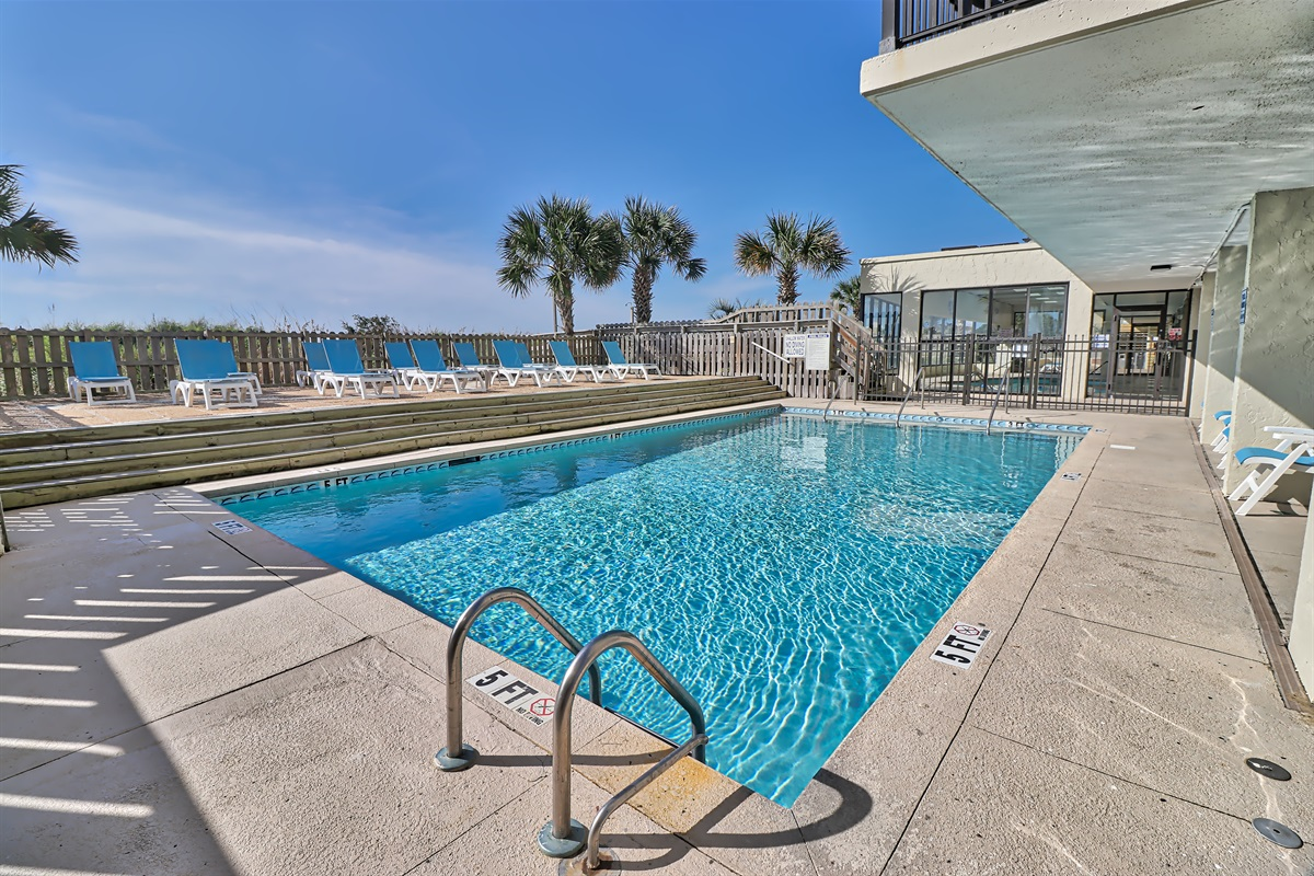 sun deck and outdoor pool