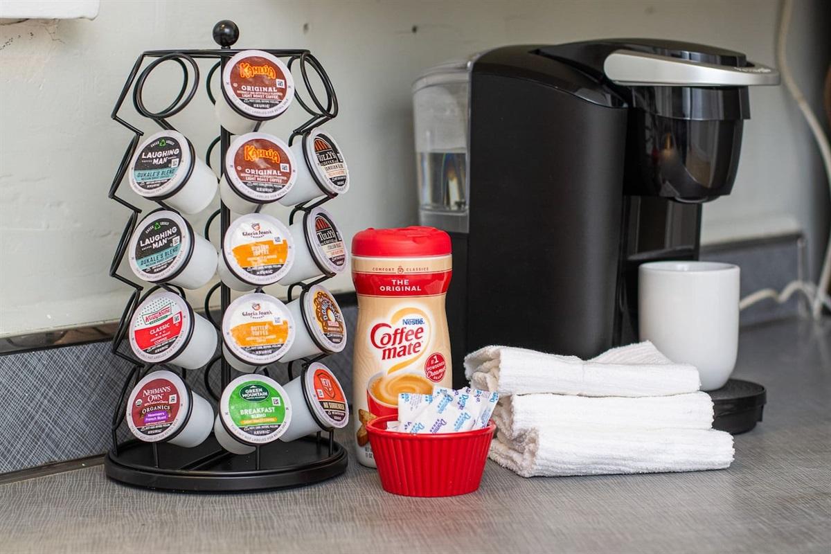 Coffee, creamer, and sugar provided!