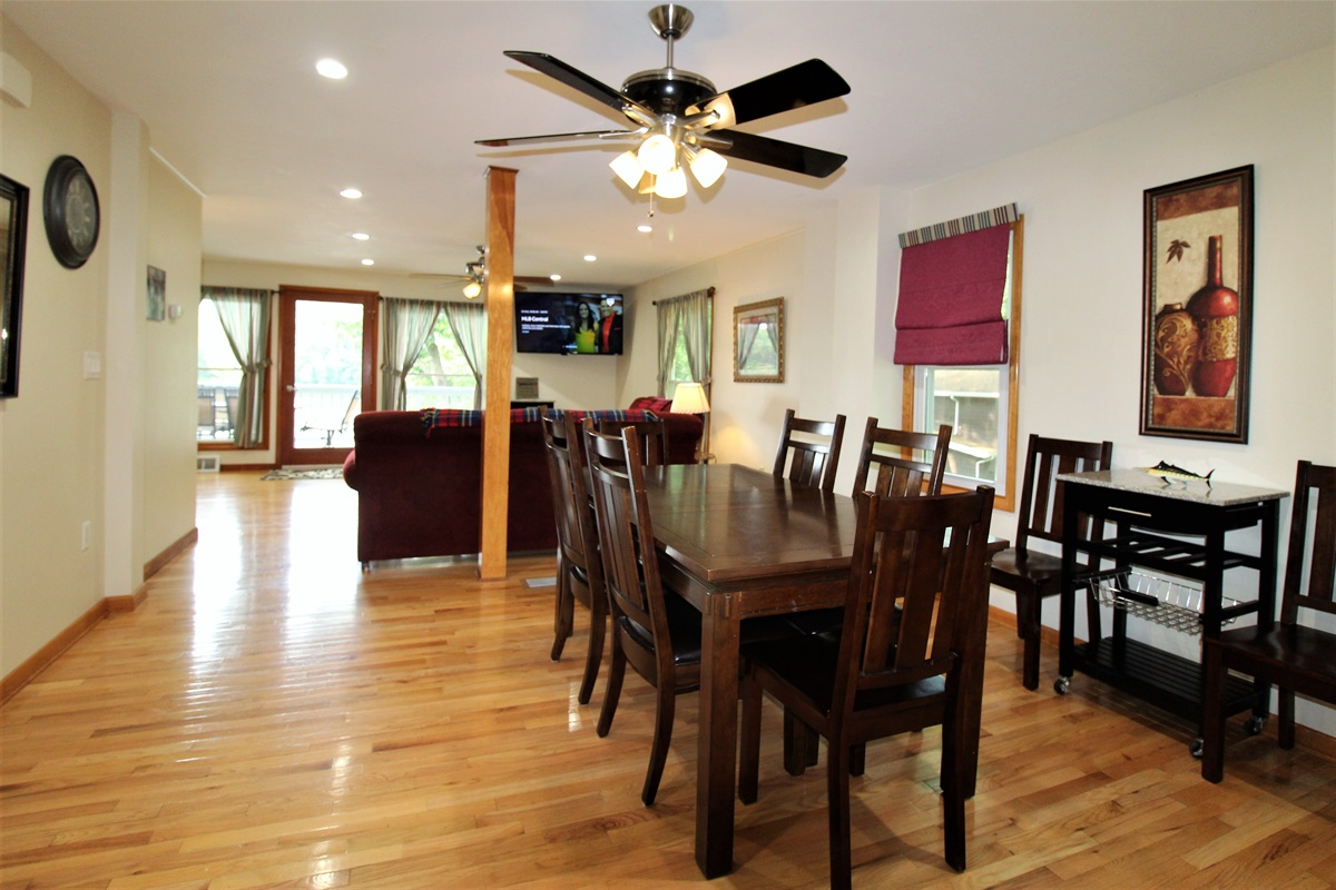 Open floor plan on main floor with a large flat screen TV.  Completely renovated in 2017!