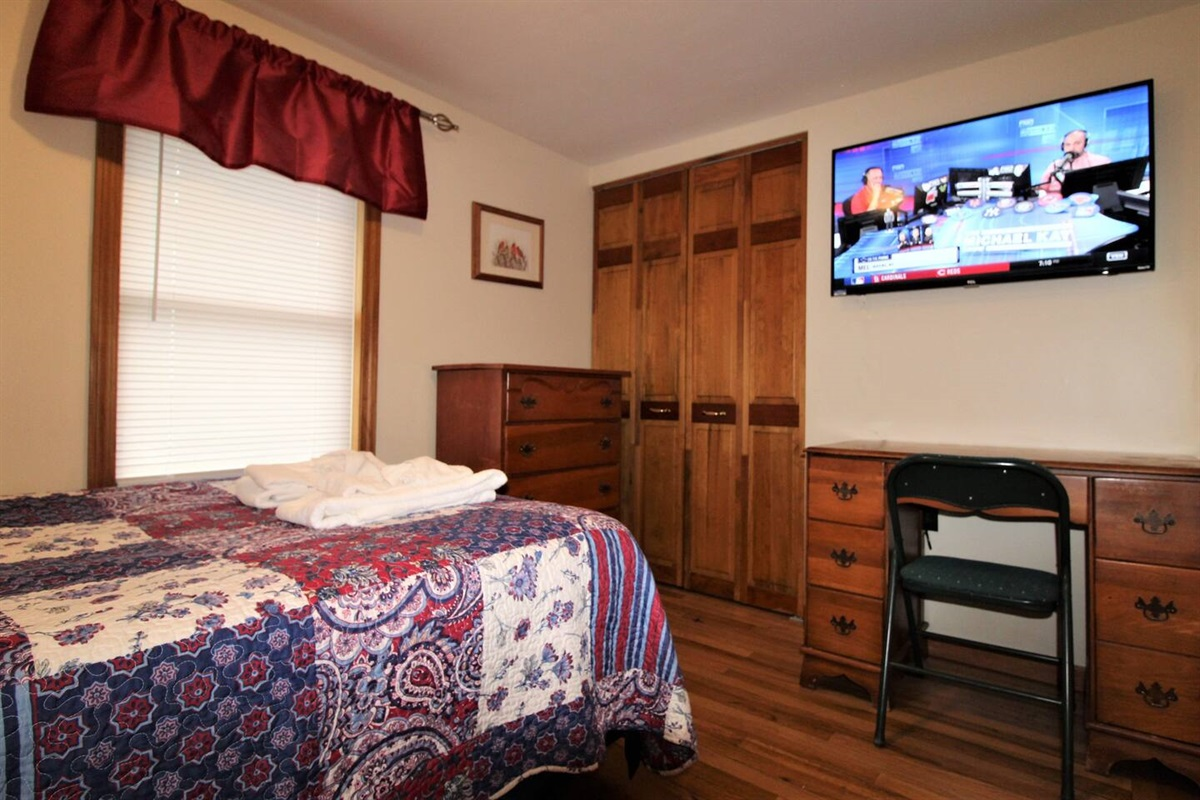 "Bedroom #2, full bed and 43"" (or larger) flat screen smart Roku TV.  Every bedroom has a TV so each person can watch their favorite shows."