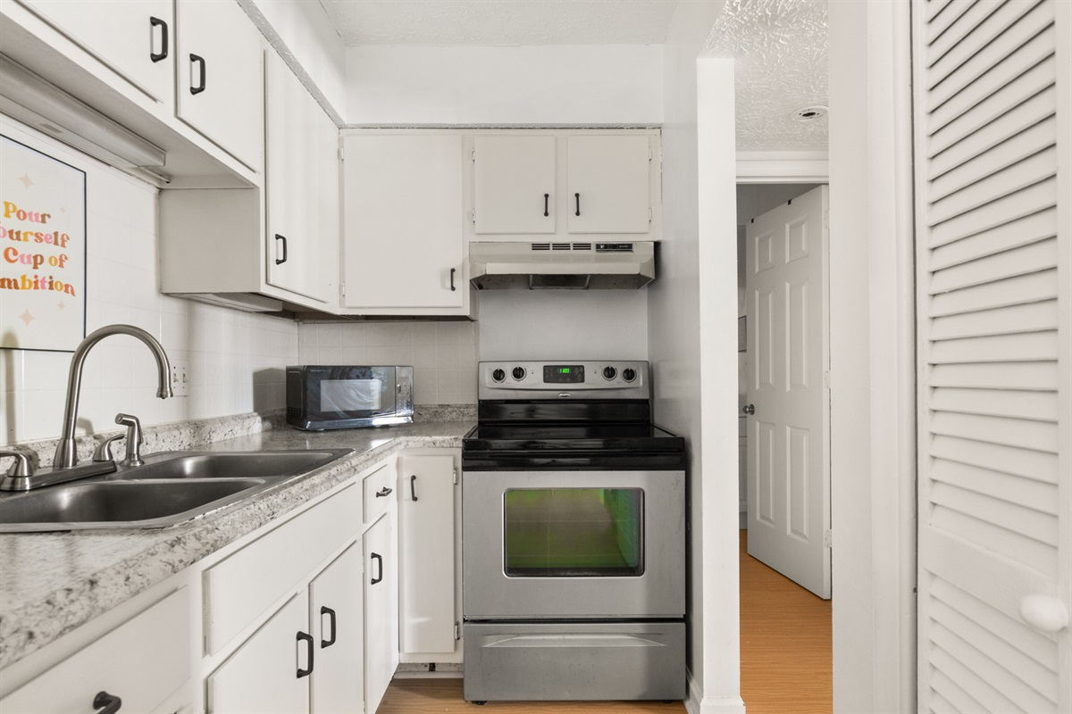 Kitchen stocked with everything you need to stay in and cook a complete meal!