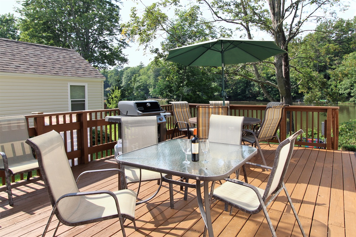 Large outdoor deck with Weber gas grill for your dining pleasure