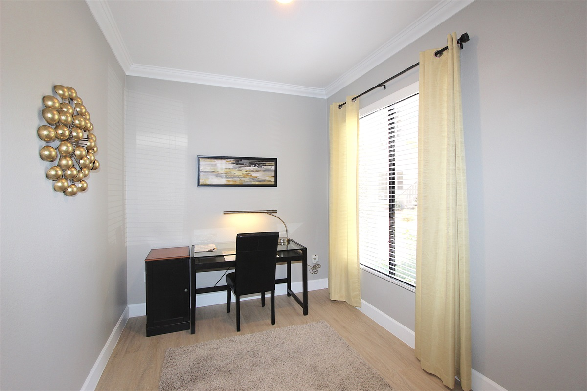 Dining area set as an office