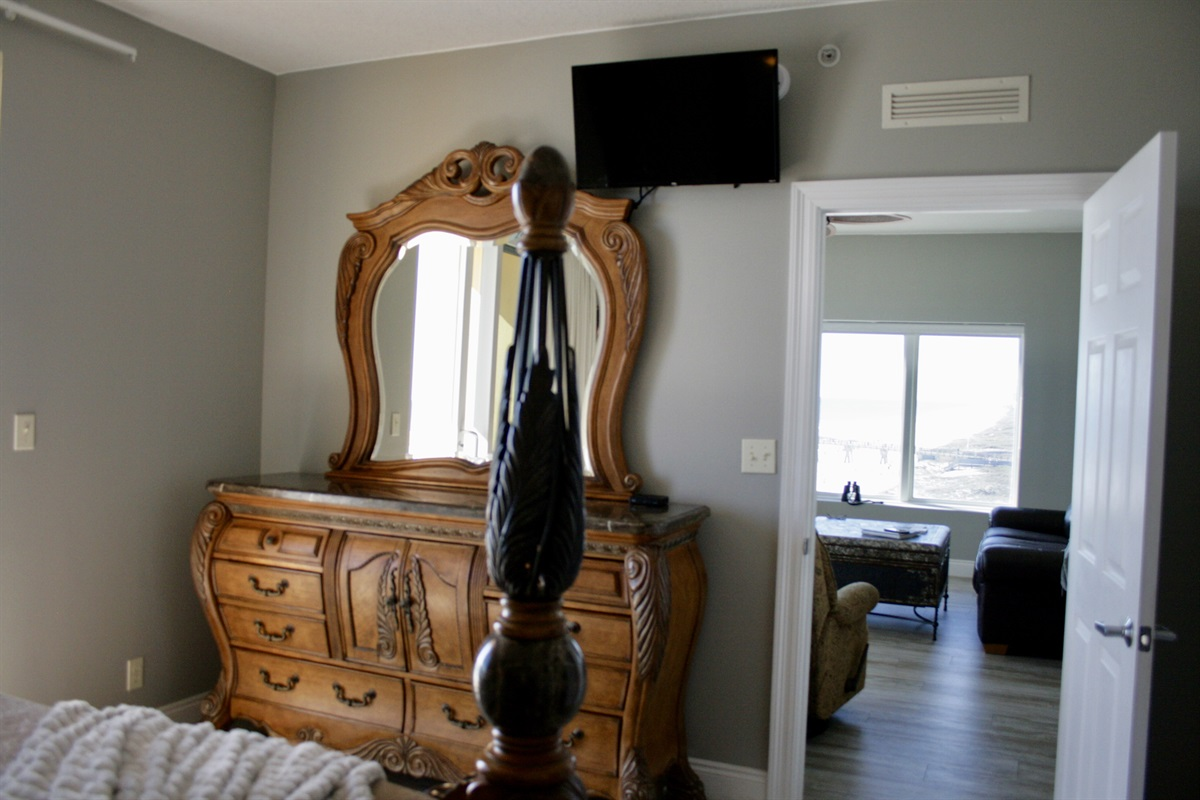 Master Bedroom with Large Smart Tv