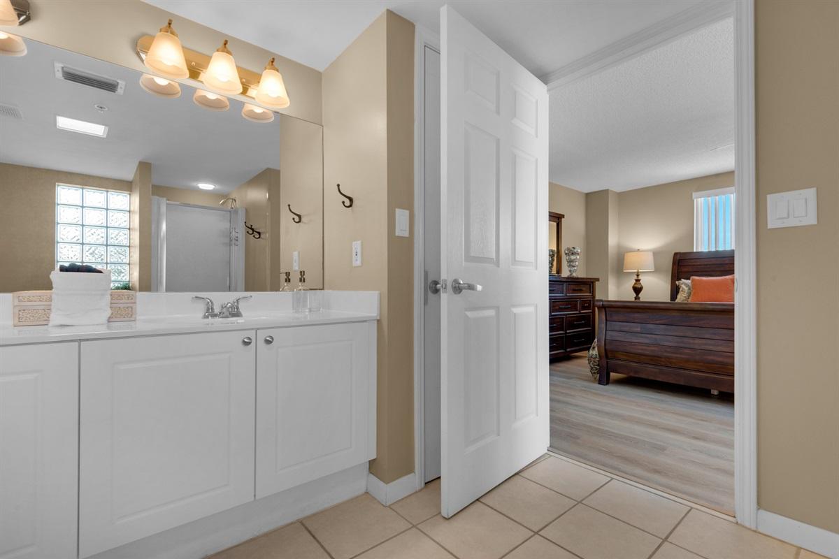 Vanity with double sinks in master bathroom